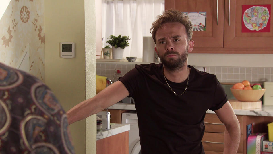 FROM ITV  STRICT EMBARGO - No Use Before  Tuesday 21st September  2021  Coronation Street - Ep 10441  Monday 27th September 2021 - 2nd Ep   Dev Alahan [JIMMI HARKISHIN] informs David Platt [JACK P SHEPHERD] about the declined bank card. David plays it down, pretending he loaned his card to Max.  Picture contact David.crook@itv.com  This photograph is (C) ITV Plc and can only be reproduced for editorial purposes directly in connection with the programme or event mentioned above, or ITV plc. Once made available by ITV plc Picture Desk, this photograph can be reproduced once only up until the transmission [TX] date and no reproduction fee will be charged. Any subsequent usage may incur a fee. This photograph must not be manipulated [excluding basic cropping] in a manner which alters the visual appearance of the person photographed deemed detrimental or inappropriate by ITV plc Picture Desk. This photograph must not be syndicated to any other company, publication or website, or permanently archived, without the express written permission of ITV Picture Desk. Full Terms and conditions are available on  www.itv.com/presscentre/itvpictures/terms