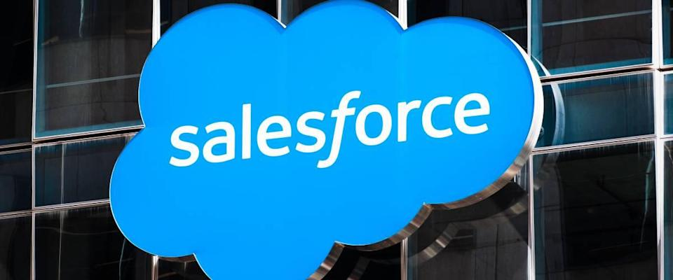 Close-up of the Salesforce logo displayed on one of their towers in downtown San Francisco