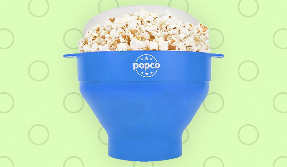 It's a popcorn popper and a bowl. It works in the microwave and then the dishwasher. And it collapses flat for easy storage.