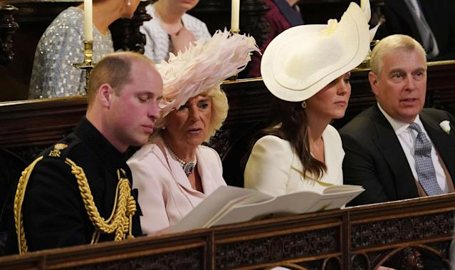 William sat next to Camilla at his brother's wedding to Meghan Markle in 2018. (Getty Images)