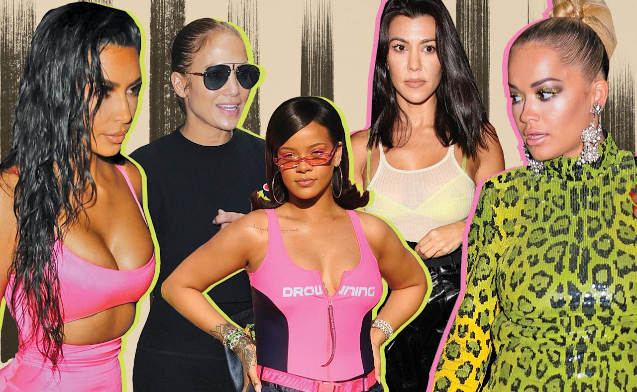 <p>From Kim Kardashian to Rihanna, Jennifer Lopez, Kourtney Kardashian, and Rita Ora, these celebrities are hot for the neon trend. </p>