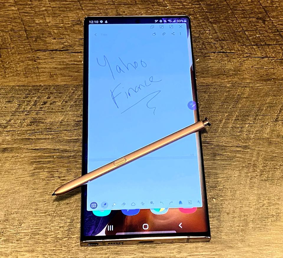 The Note20 Ultra's biggest attractive, beyond its size, is its S Pen stylus. (Image: Howley)