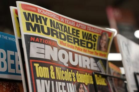 U.S. tabloid newspaper the National Enquirer is on display for sale in Washington