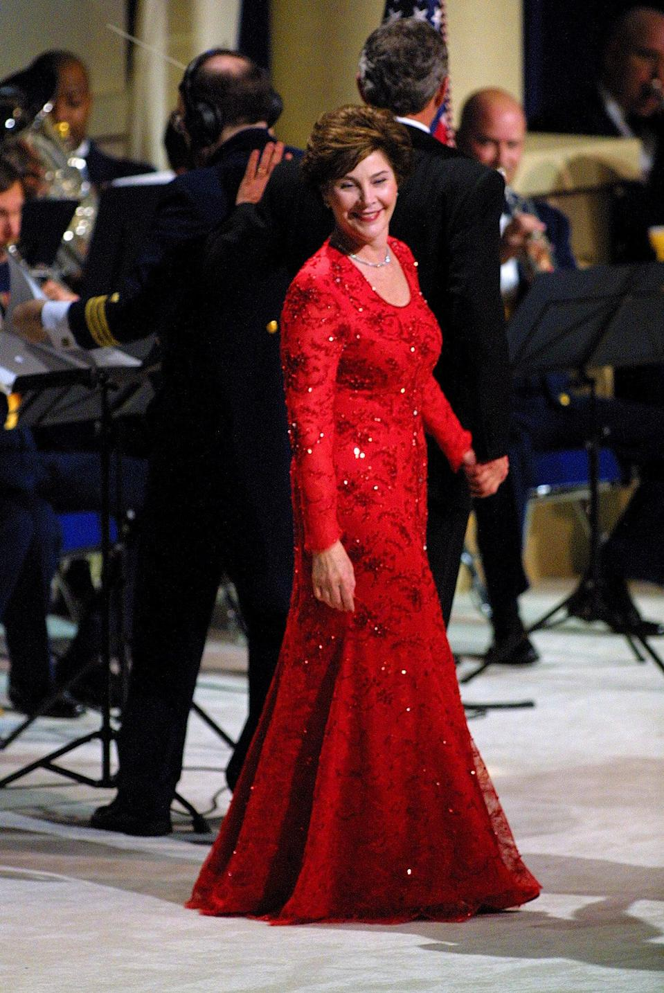 Laura Bush wore a ruby-red Michael Faircloth gown in 2001Getty Images