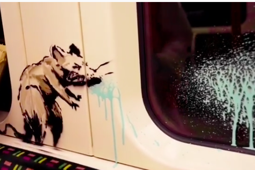 The art featured a rat spraypainted on the tube (Banksy/Instagram)