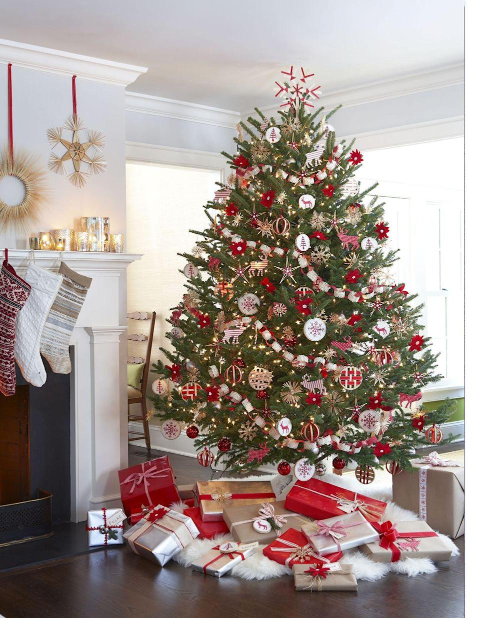 """<p>Embrace the hygge lifestyle with a Scandinavian-styled tree. Better yet, hit up your favorite Swedish retailer (<a href=""""https://www.goodhousekeeping.com/home/craft-ideas/g2941/best-ikea-hacks/"""" rel=""""nofollow noopener"""" target=""""_blank"""" data-ylk=""""slk:IKEA"""" class=""""link rapid-noclick-resp"""">IKEA</a>, of course!) for sheepskin rugs instead of a tree skirt.  </p>"""