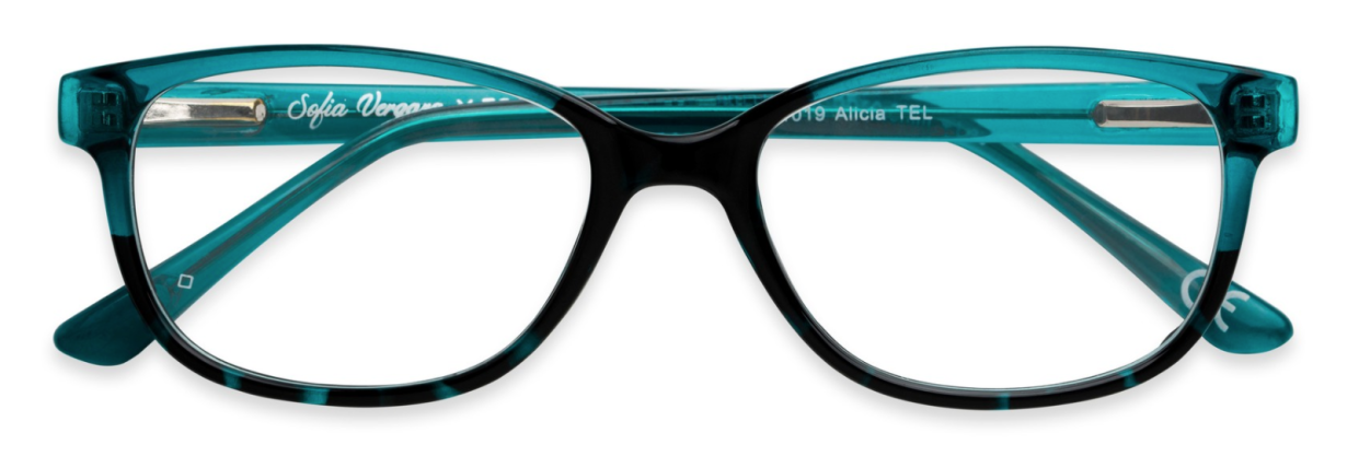 The Alicia rectangular readers come in a two-tone teal. (Photo: Courtesy of Foster Grant)