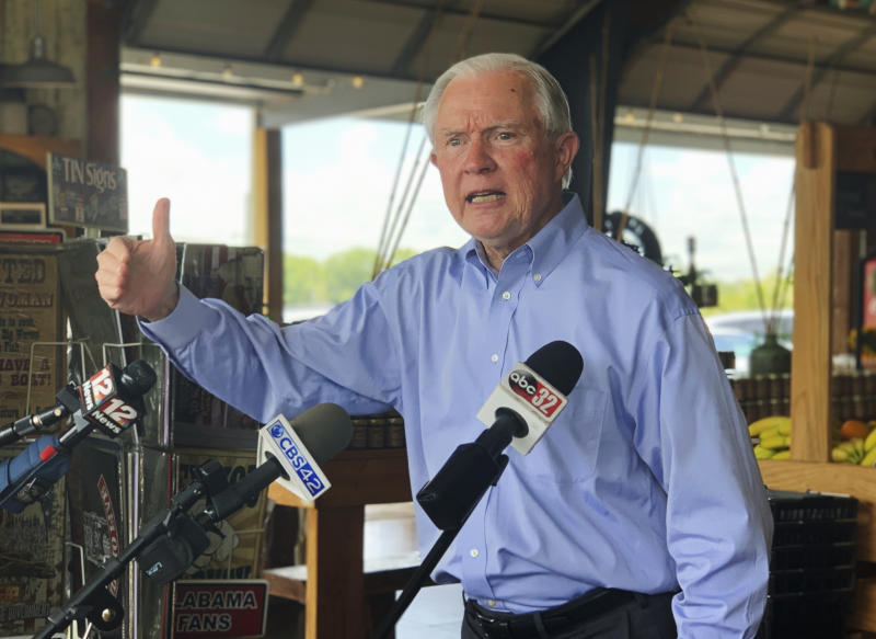 Former U.S. Attorney General Jeff Sessions speaks to reporters during a campaign stop at Sweet Creek restaurant and farmers market, south of Montgomery, Ala., Monday, July 6, 2020. (Kim Chandler/AP Photo)