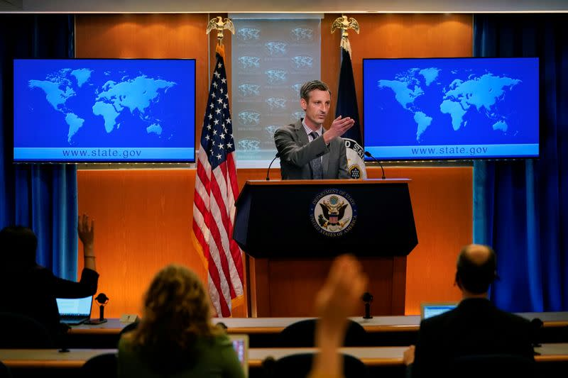 FILE PHOTO: U.S. State Department spokesman Ned Price takes questions from reporters at the State Department in Washington