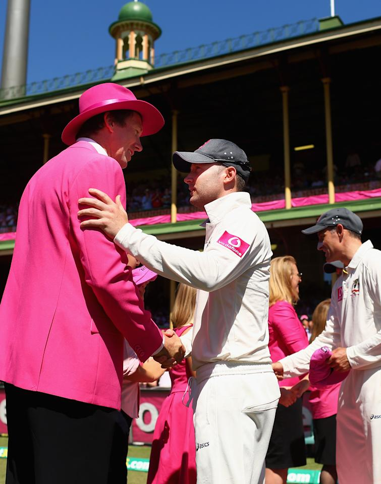 SYDNEY, AUSTRALIA - JANUARY 05: Michael Clarke of Australia presents a pink cap to Glenn McGrath on Jane McGrath day during day three of the Third Test match between Australia and Sri Lanka at Sydney Cricket Ground on January 5, 2013 in Sydney, Australia.  (Photo by Ryan Pierse/Getty Images)