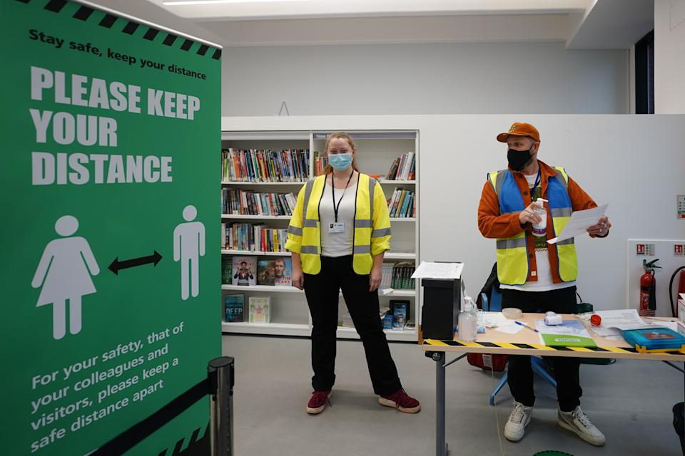 A coronavirus lateral flow testing centre in Ealing Library, London. Photo date: Thursday, January 14, 2021. Photo credit should read: Richard Gray/EMPICS