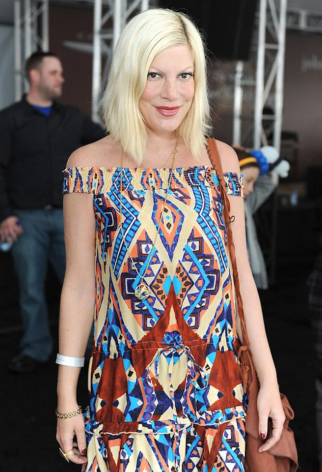 WEST HOLLYWOOD, CA - MARCH 11:  Actress Tori Spelling attends John Varvatos 9th Annual Stuart House Benefit presented by Chrysler held at John Varvatos Los Angeles on March 11, 2012 in West Hollywood, California.  (Photo by Michael Kovac/Getty Images for John Varvatos)