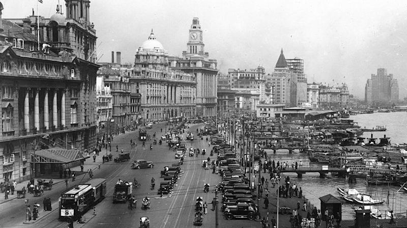 A panorama of the Shanghai Bund in the 1930s.