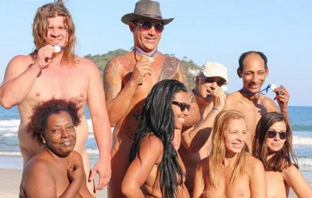 Group nudist Category:Nude standing