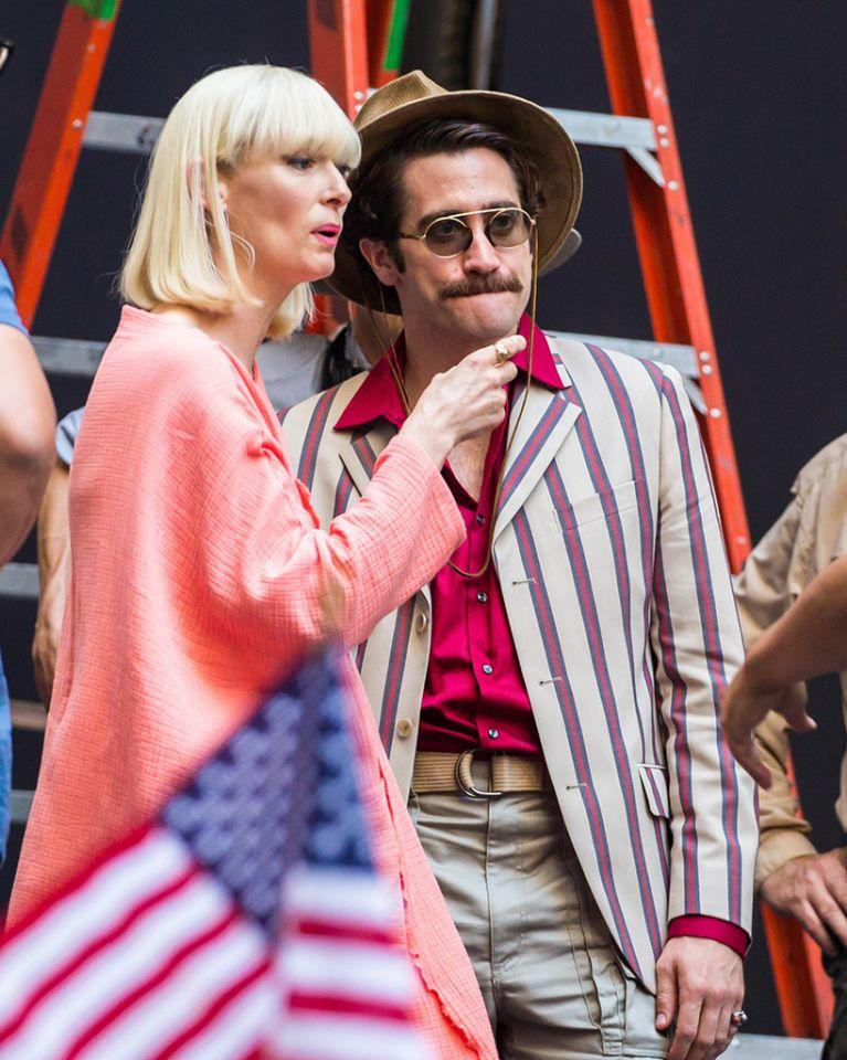 """<p>As an added bonus, Gyllenhaal was also snapped with frequent screen chameleon Tilda Swinton on the set of <i>Okja</i>. Swinton — who was completely unrecognizable as the <a rel=""""nofollow"""" href=""""https://www.youtube.com/watch?v=i-ZxY_xFm9Q"""">cruel Minister Mason </a>in <i>Snowpiercer</i> — wears a blonde bob and hot-pink lipstick. <i>(Photo: Fameflynet Pictures) </i> </p>"""