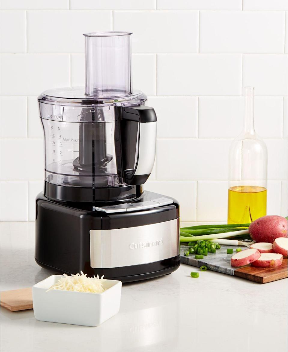 """<p><strong>Cuisinart</strong></p><p>macys.com</p><p><strong>$124.99</strong></p><p><a href=""""https://go.redirectingat.com?id=74968X1596630&url=https%3A%2F%2Fwww.macys.com%2Fshop%2Fproduct%2Fcuisinart-cfp-8bk-8-cup-food-processor-created-for-macys%3FID%3D6160400&sref=https%3A%2F%2Fwww.delish.com%2Ffood-news%2Fg32852340%2Fmacys-kitchen-sale-june-2020%2F"""" rel=""""nofollow noopener"""" target=""""_blank"""" data-ylk=""""slk:BUY NOW"""" class=""""link rapid-noclick-resp"""">BUY NOW</a></p><p>For dips, dressings, spreads, and purees, a food processor is the handiest kitchen tool. Your salads will thank you.</p>"""