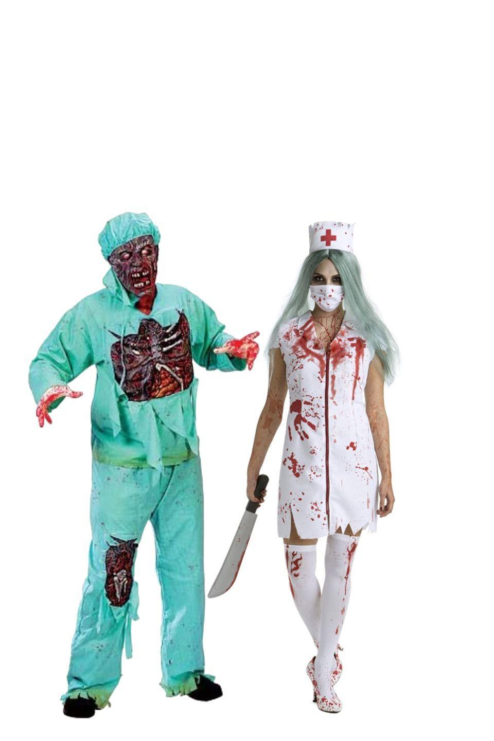 """<p>What's more frightening that two healthcare works turning from healers to killers? </p><p><a class=""""link rapid-noclick-resp"""" href=""""https://www.amazon.com/Fun-World-Zombie-Doctor-Costume/dp/B00284B0IW?tag=syn-yahoo-20&ascsubtag=%5Bartid%7C10070.g.28669645%5Bsrc%7Cyahoo-us"""" rel=""""nofollow noopener"""" target=""""_blank"""" data-ylk=""""slk:Shop Men's Costume"""">Shop Men's Costume</a></p><p><a class=""""link rapid-noclick-resp"""" href=""""https://www.amazon.com/Womens-Zombie-Costume-Bloody-Quality/dp/B01JPOQAK0/?tag=syn-yahoo-20&ascsubtag=%5Bartid%7C10070.g.28669645%5Bsrc%7Cyahoo-us"""" rel=""""nofollow noopener"""" target=""""_blank"""" data-ylk=""""slk:Shop Women's Costume"""">Shop Women's Costume</a> </p>"""