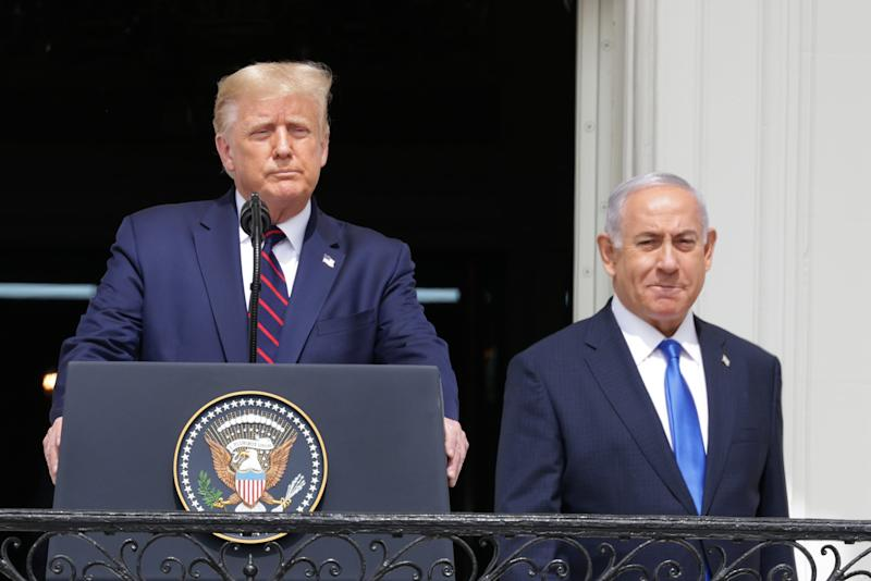 US President Trump and Israeli Prime Minister Netanyahu arrive outside the White House for a signing ceremony of two peace pacts among the Jewish State and the UAE and Bahrain.Getty Images