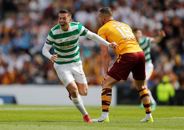 Soccer Football - Scottish Cup Final - Celtic vs Motherwell - Hampden Park, Glasgow, Britain - May 19, 2018 Celtic's Callum McGregor celebrates scoring their first goal REUTERS/Russell Cheyne