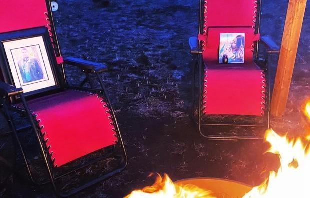 The portraits of Kyle Gardner, 29, and Stephanie Keeash, 21, are fixtures around the sacred fire.