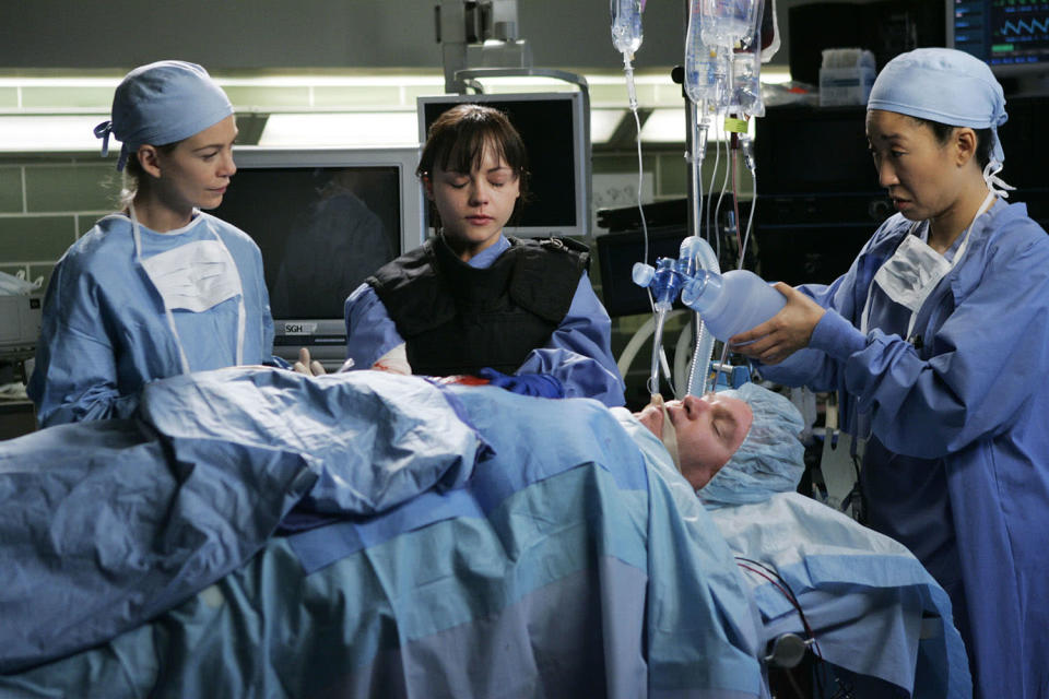 """<p>Three hundred episodes ago, <em>Grey's Anatomy</em> admitted us to Seattle Grace Hospital with a pilot episode titled """"A Hard Day's Night."""" By the end of the show's 2005 midseason run, which ended with the in-our-face titled """"Who's Zoomin' Who,"""" we knew we were getting more than just a random Aretha Franklin reference. Every <em>Grey's Anatomy</em> episode — and there are a lot of them — is named after a song, with every artist from BJ Thomas (""""Raindrops Keep Fallin' on My Head"""") to Metallica (""""Where the Wild Things Are"""") represented. In a clever Season 2 two-parter, one R.E.M. song was even used for <em>two</em> episode titles. The infamous """"bomb"""" episode, """"It's the End of the World,"""" was followed one week later with """"As We Know It."""" All they were missing was a third part titled """"And I Feel Fine.""""<br><br>(Photo: ABC/Peter """"Hopper"""" Stone) </p>"""