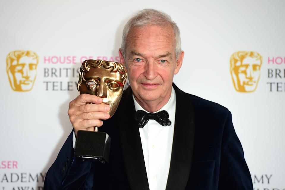 Jon Snow collects the award for best news coverage on behalf of Channel 4 during the House of Fraser BAFTA TV Awards 2016 at the Royal Festival Hall, Southbank, London.