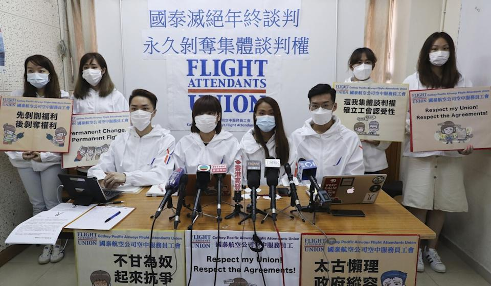 The Cathay Pacific Airways Flight Attendants Union slammed the airline for refusing to engage in year-end negotiations with staff. Photo: Edmond So