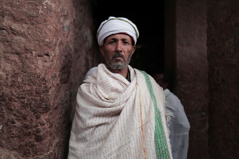 Ethiopian Orthodox pilgrims attend the Easter Eve celebration at the St. Mary Rock-Hewn church in Lalibela