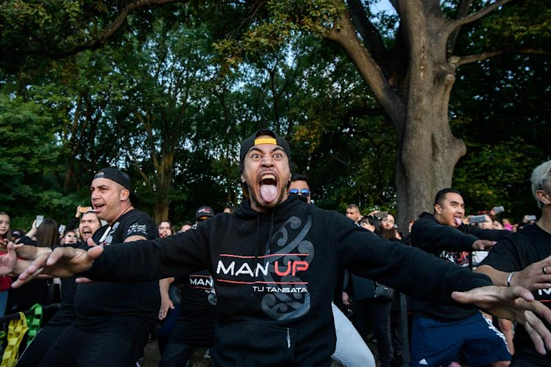 Since Friday's attack, it has become a common sight to see groups peforming the haka (performed here by members of biker gangs at a tribute to the victims) (AFP Photo/Anthony WALLACE)
