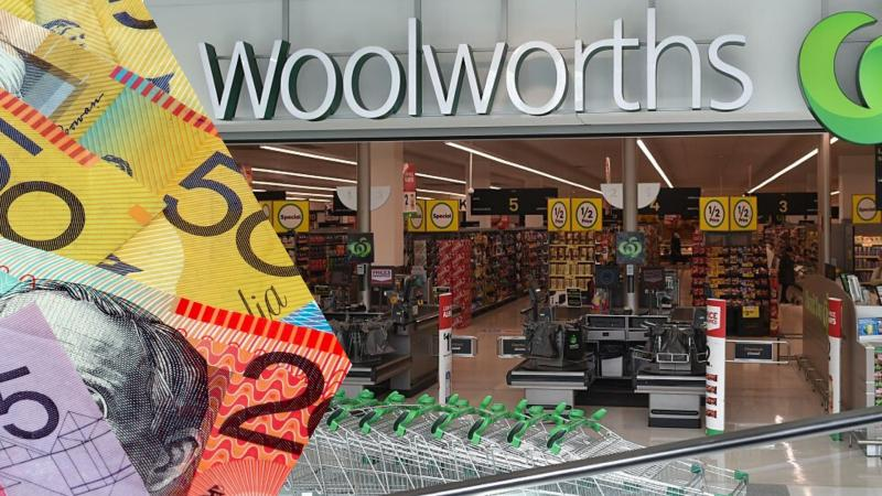 Image: Woolworths supermarket, Australian cash. Images: Getty