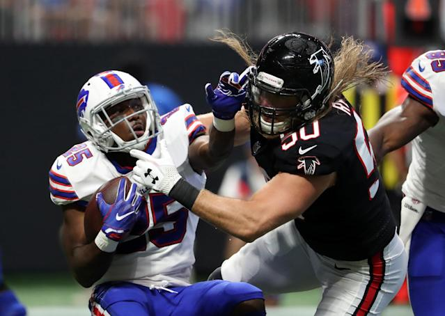 <p>Buffalo Bills running back LeSean McCoy (25) is tackled by Atlanta Falcons defensive end Brooks Reed (50) in the first quarter at Mercedes-Benz Stadium. Mandatory Credit: Jason Getz-USA TODAY Sports </p>