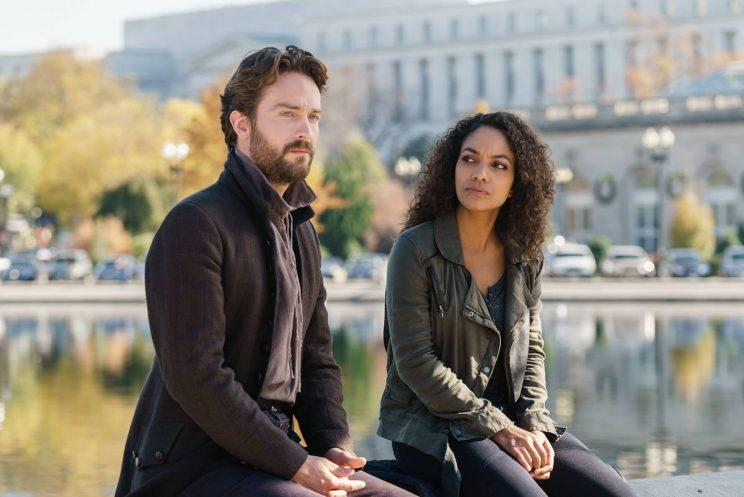 Tom Mison and Lyndie Greenwood as Ichabod Crane and Jenny Mills in Sleepy Hollow. (Credit: Tina Rowden/FOX)