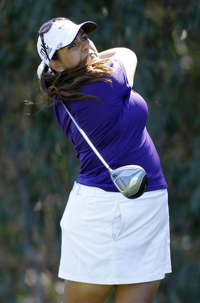 Lizette Salas hits her tee shot on the fifth hole during the final round of the LPGA Kia Classic golf tournament in Carlsbad, Calif., Sunday, March 30, 2014. (AP Photo/Alex Gallardo)