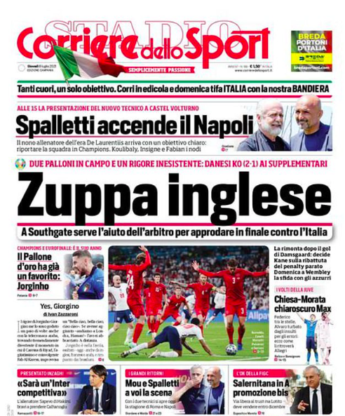 The front page of Corriere dello Sport insinuated that England were boring in their match against Denmark.