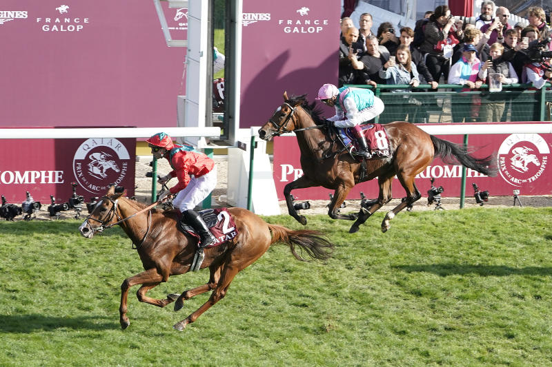 Pierre-Charles Boudot, riding Waldgeist, wins the Qatar Prix De L'Arc De Triomphe from Frankie Dettori and Enable, ending her bid to become the first horse to win Europe's richest race three times.