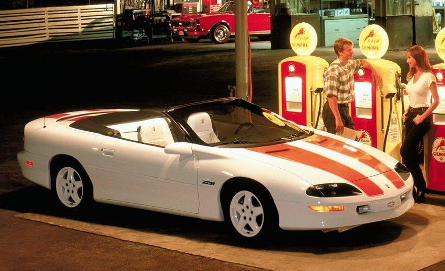 <p>To celebrate the Camaro's 30th anniversary, Chevrolet released a white convertible Z28 with orange stripes reminiscent of those on the 1969 pace car.</p>
