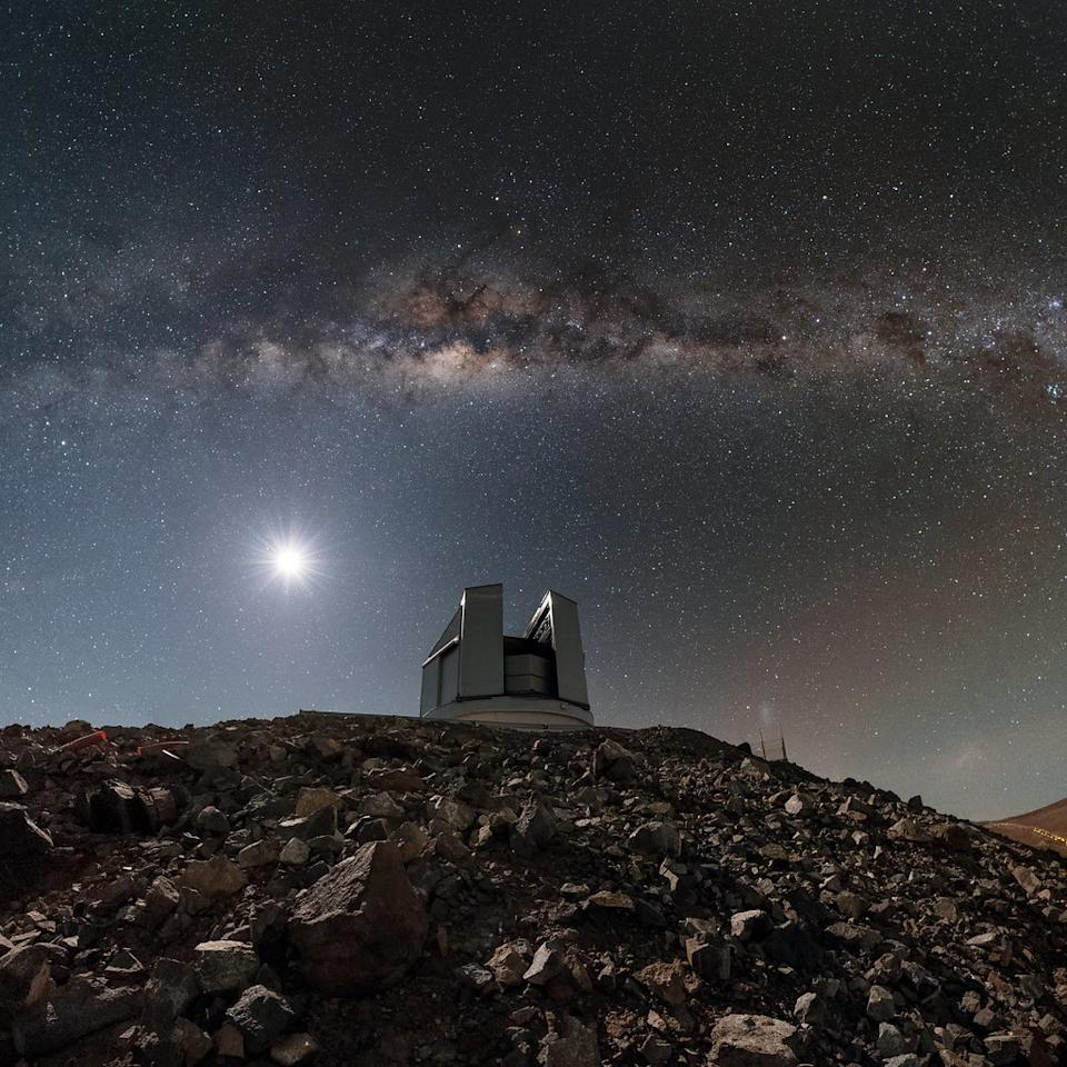 The Milky Way glistens above the Visible and Infrared Survey Telescope for Astronomy (VISTA) at the Paranal Observatory in northern Chile in this stunning night-sky view by European Southern Observatory photo ambassador Babak Tafreshi.