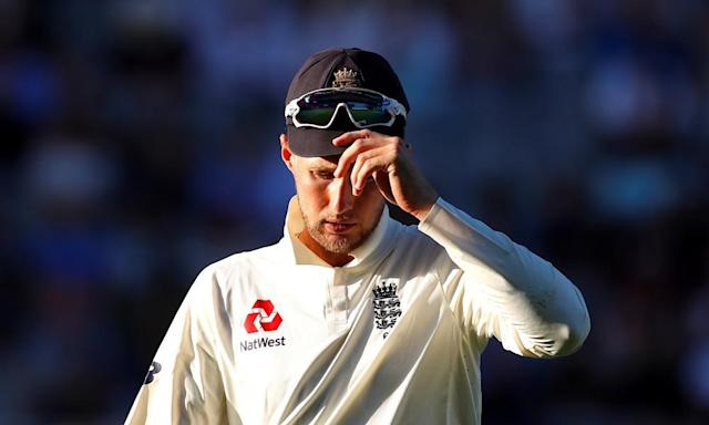 """<span class=""""element-image__caption"""">The England captain, Joe Root, scored a six-ball duck on a dismal day for his side.</span> <span class=""""element-image__credit"""">Photograph: David Gray/Reuters</span>"""