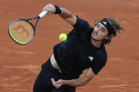 Greece's Stefanos Tsitsipas serves against Slovenia's Aljaz Bedene in the third round match of the French Open tennis tournament at the Roland Garros stadium in Paris, France, Saturday, Oct. 3, 2020. (AP Photo/Michel Euler)