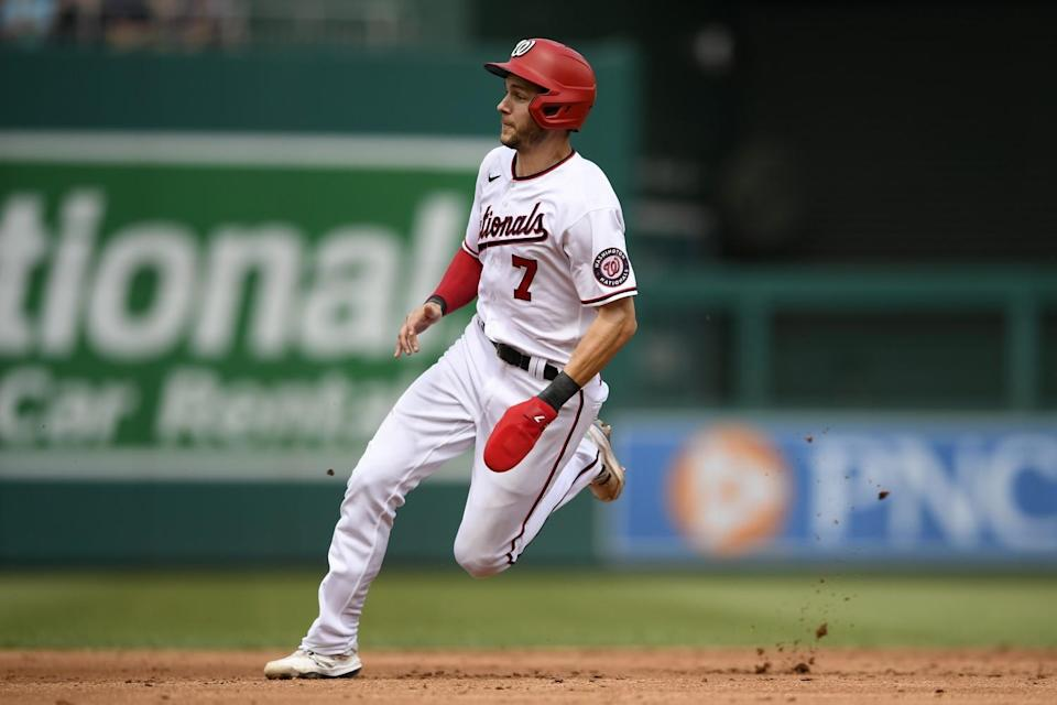Trea Turner runs the bases for the Nationals during a game against the San Diego Padres on July 18, 2021.
