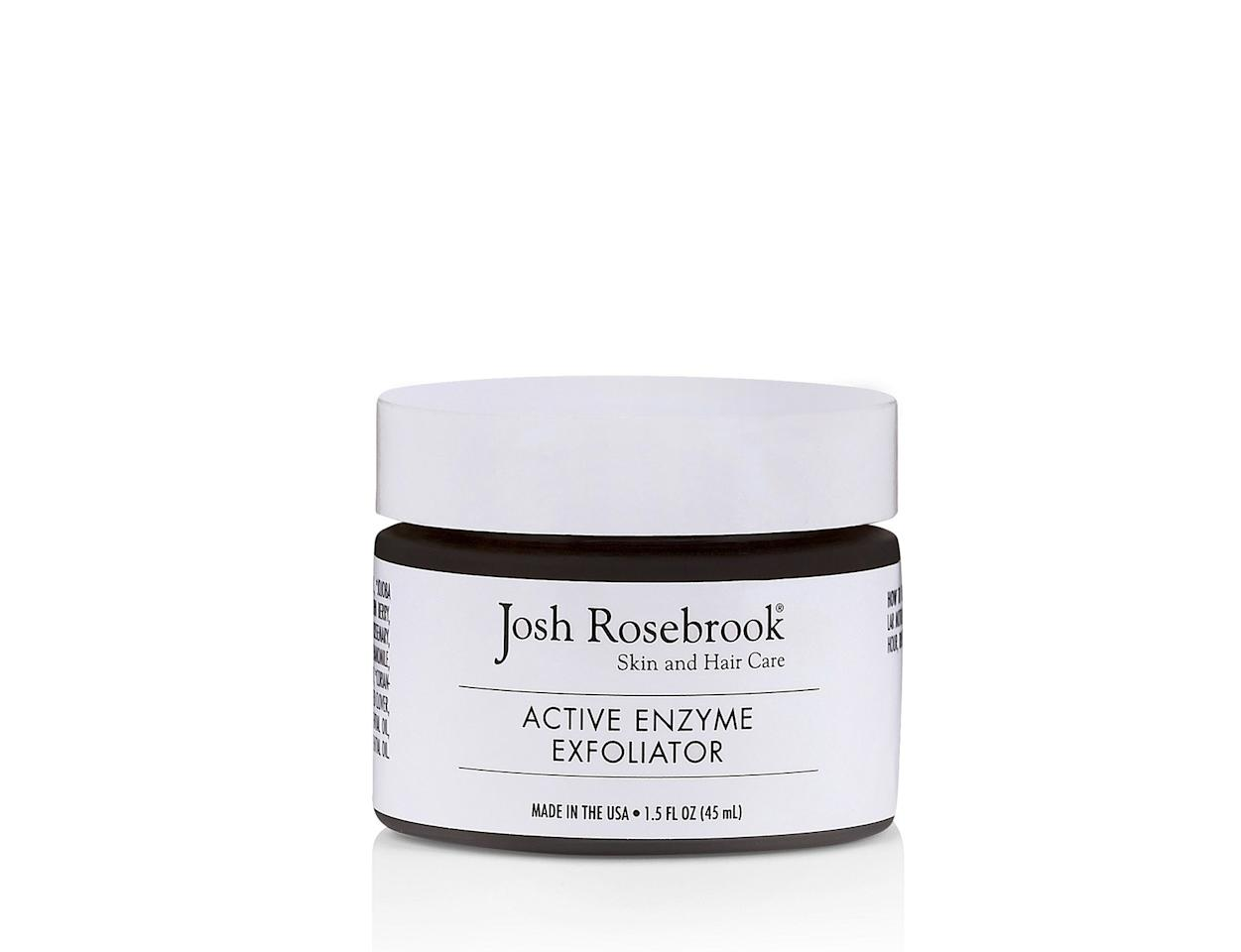 """<p>This resurfacing treatment is a double whammy. Finely ground walnut shells give a gentle scrub to renew skin's surface, while potent herb, plant, and fruit enzymes work to remove dead skin cells. The result? A youthful and glowing complexion. (<em>Active Enzyme Exfoliator, $60</em>, <a rel=""""nofollow"""" href=""""https://joshrosebrook.com/products/active-enzyme-exfoliator?mbid=synd_yahoobeauty""""><em>Josh Rosebrook</em></a>)</p>"""