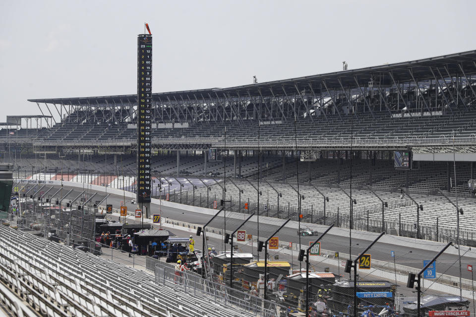 There will be empty grandstands for the Indy 500. (AP Photo/Darron Cummings)