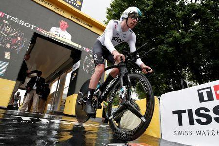 Cycling - The 104th Tour de France cycling race - The 14-km (8.7 miles) individual time-trial Stage 1 - Duesseldorf, Germany - July 1, 2017 - Team Sky rider Luke Rowe of Britain starts the stage. REUTERS/Benoit Tessier