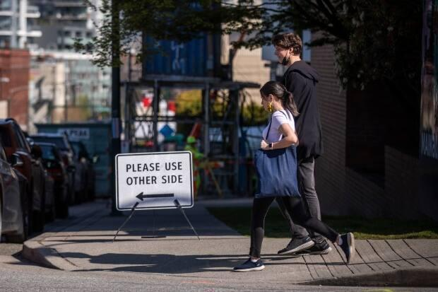 Accessibility advocates say blocked sidewalks at construction sites often don't meet the needs of those who aren't able-bodied.  (Ben Nelms/CBC - image credit)