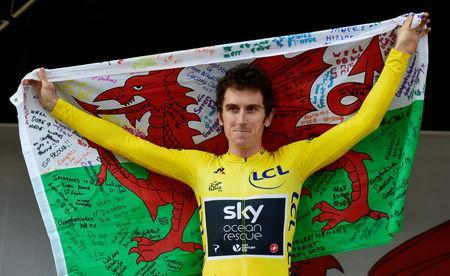 FILE PHOTO: Cycling - Geraint Thomas Homecoming Parade - Cardiff, Britain - August 9, 2018 Team Sky's Geraint Thomas during the homecoming parade after his victory in the Tour De France REUTERS/Rebecca Naden/File Photo