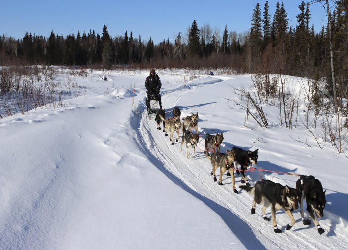 Pete Kaiser leaves the Ophir, Alaska, checkpoint with his dog team during the Iditarod Trail Sled Dog Race on Friday, March 12, 2021. (Zachariah Hughes/Anchorage Daily News via AP, Pool)