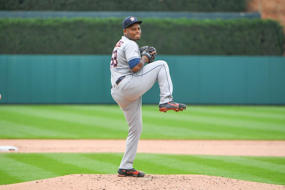 DETROIT, MI - JUNE 25: Houston Astros starting pitcher Framber Valdez (59) pitches during the Detroit Tigers versus the Houston Astros game on Friday June 25, 2021 at Comerica Park in Detroit, MI. (Photo by Steven King/Icon Sportswire via Getty Images)