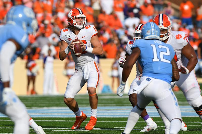 CHAPEL HILL, NC - SEPTEMBER 28: Clemson Tigers quarterback Trevor Lawrence (16) drops back looking to pass in the game between the Clemson Tigers and the North Carolina Tar Heels on September 28, 2019 at Kenen Memorial Stadium in Chapel Hill, NC.(Photo by Dannie Walls/Icon Sportswire via Getty Images)