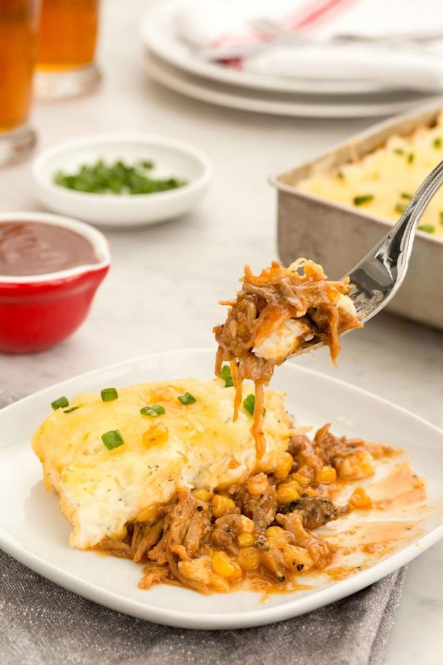 """<p>Ranch-seasoned mashed potatoes take this dish to the next level<span>.</span></p><p><span>Get the recipe from <a rel=""""nofollow"""" href=""""http://www.delish.com/cooking/recipe-ideas/recipes/a45092/barbecue-pulled-pork-shepherds-pie-recipe/"""">Delish</a>.</span></p>"""