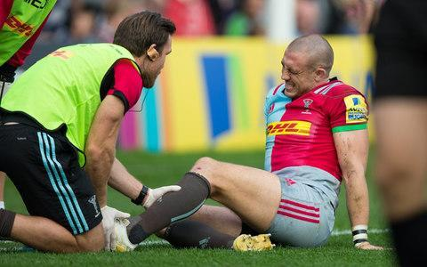 <span>Mike Brown receives treatment on his ankle during Harlequins loss to Leicester Tigers</span> <span>Credit: CameraSport </span>